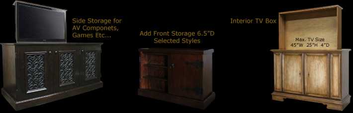 TV Lift Cabinets can be modified to fit any TV Size or Storage